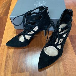 Vince Camuto Black Suede Lace Up Heels